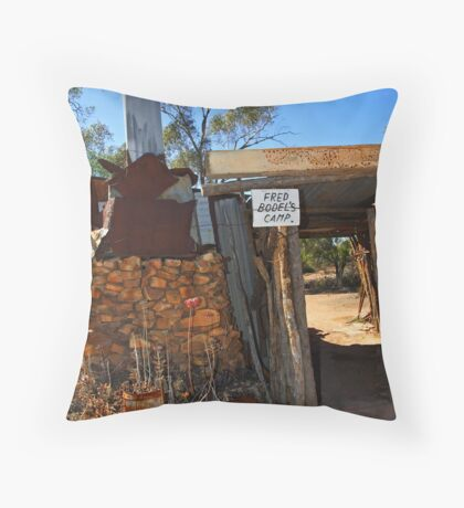 Fred Bodel's Camp at Lightning Ridge Throw Pillow