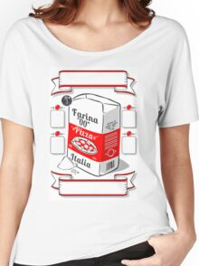 Vintage Hand Drawn Advertising Flour Pizza Page Women's Relaxed Fit T-Shirt