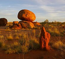Devil's Marbles with Ant Mound, Northern Territory, Australia by pmitchell