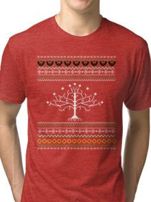 Lord of the Rings Christmas Style Tri-blend T-Shirt