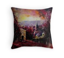 village in autumn Throw Pillow