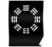 I Ching, symbol, Book of Changes, WHITE on Black Poster