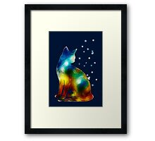 Galactic Space Pussy On Milky Way, Cat, Space, Galaxy Framed Print