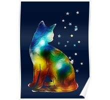 Galactic Space Pussy On Milky Way, Cat, Space, Galaxy Poster
