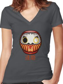 mikoto's Daruma Doll Women's Fitted V-Neck T-Shirt