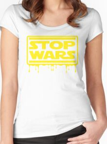 Stop Wars Women's Fitted Scoop T-Shirt