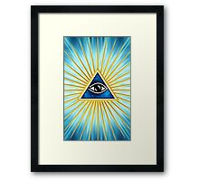 All Seeing Eye Of God, Flames - Symbol Omniscience Framed Print