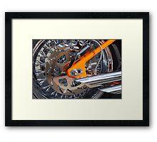 The Motorcycle as Art: Harley-Davidson Chrome and Orange > Framed Print