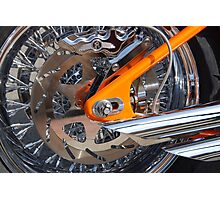 The Motorcycle as Art: Harley-Davidson Chrome and Orange > Photographic Print