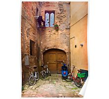 Lunchtime in Pienza Italy Poster