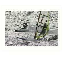 windsurfer and kitesurfer Art Print