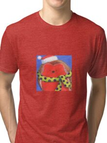Cute fat Christmas robin Tri-blend T-Shirt