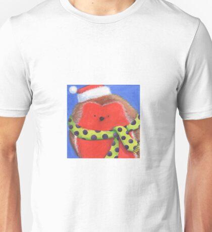 Cute fat Christmas robin Unisex T-Shirt