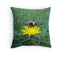small flower and bumblebee Throw Pillow