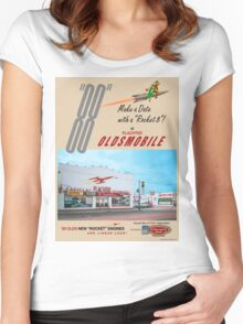 Retro Auto Ad for Platcher Oldsmobile Cadillac 1959 Women's Fitted Scoop T-Shirt