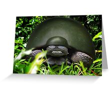 Slow Commando Turtle Helmet Greeting Card