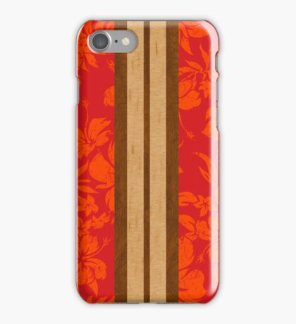 Sunset Beach Hawaiian Faux Koa Wood Surfboard - Red iPhone Case/Skin