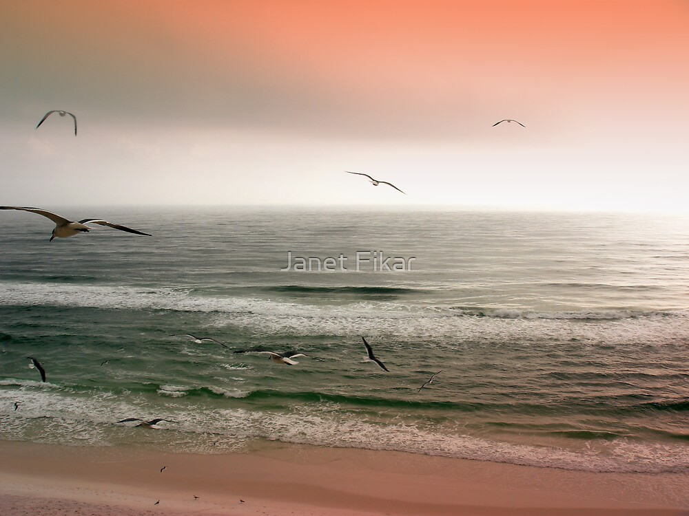 Sunset on the Seashore by Janet Fikar