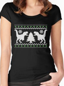 Ugly T-Rex Christmas Holiday Sweater Design Women's Fitted Scoop T-Shirt
