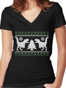 Ugly T-Rex Christmas Holiday Sweater Design Women's Fitted V-Neck T-Shirt