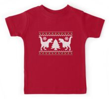 Ugly T-Rex Christmas Holiday Sweater Design Kids Tee