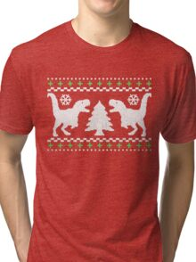 Ugly T-Rex Christmas Holiday Sweater Design Tri-blend T-Shirt
