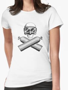 Diving Skull Womens Fitted T-Shirt