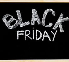 Black Friday advertisement handwritten with chalk on blackboard by Stanciuc
