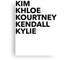 Kardashian Family Canvas Print