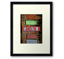Comic Abstract Coffee Shop Signs Framed Print