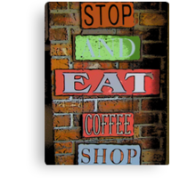 Comic Abstract Coffee Shop Signs Canvas Print