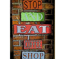 Comic Abstract Coffee Shop Signs Photographic Print