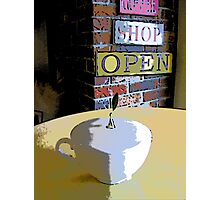 Comic Abstract Coffee Shop Tea Cup Photographic Print