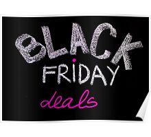 Black Friday deals advertisement handwritten with chalk on blackboard Poster