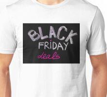 Black Friday deals advertisement handwritten with chalk on blackboard Unisex T-Shirt