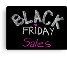 Black Friday sales advertisement handwritten with chalk Canvas Print