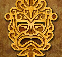 Stylish Stone Mayan Mask by Jeff Bartels