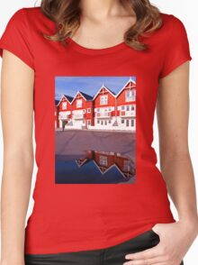 Modern classical design summer houses with reflection Women's Fitted Scoop T-Shirt