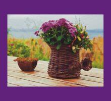 Beautiful still life basket of flowers digital art T-Shirt
