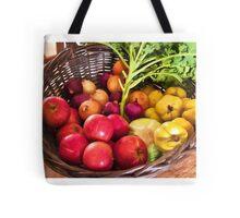 Organic healthy vegetables and fruits digital art Tote Bag