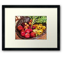 Organic healthy vegetables and fruits digital art Framed Print