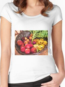 Organic healthy vegetables and fruits digital art Women's Fitted Scoop T-Shirt