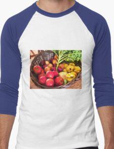 Organic healthy vegetables and fruits digital art Men's Baseball ¾ T-Shirt