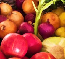 Organic healthy vegetables and fruits digital art Sticker