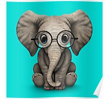 Cute Baby Elephant Calf with Reading Glasses on Blue Poster