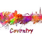 Coventry skyline in watercolor by paulrommer