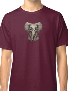 Cute Baby Elephant Calf with Reading Glasses on Blue Classic T-Shirt