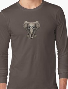 Cute Baby Elephant Calf with Reading Glasses on Blue Long Sleeve T-Shirt