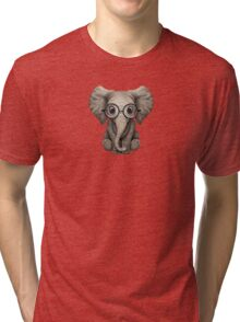 Cute Baby Elephant Calf with Reading Glasses on Blue Tri-blend T-Shirt
