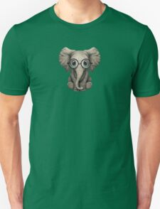 Cute Baby Elephant Calf with Reading Glasses on Blue Unisex T-Shirt